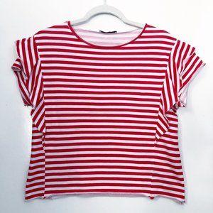 Zara Red White Stripe Flutter Ruffle Sleeve Top S